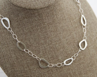 Sterling Silver Oval Links Necklace