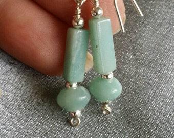 Gemstone earrings, Genuine Amazonite in Sterling Silver, handcrafted (#1399)