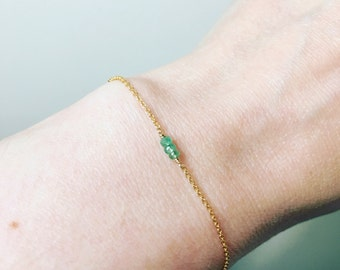 Gold filled emerald bracelet
