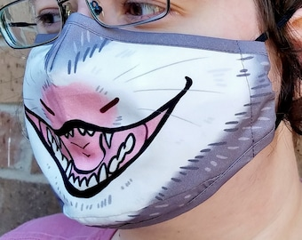 Yellin' Opossum Face Mask - READY TO SHIP - Two Layered Face Mask - Dust Mask - Filter Pocket - Nose Wire - Adjustable Elastic - Cute Mask