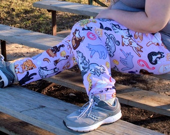 Kitty Cats Pajama Pants! Stretchy & Comfy Jogger Style Pants with Drawstring and Pockets  - Plus Size Pajama Pants