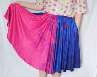 Pixel Bi Pride Midi Skirt with POCKETS! - Plus Size Skirt - Mid-Calf Skirt - Bisexual Pride Skirt - LGBT Pride Skirt