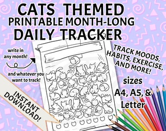 Cats Mood Tracker / Habit Tracker / Exercise Tracker Printable PDF Template - Daily & Monthly Tracker Chart with Cute Design