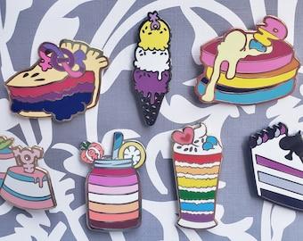 Pastry Pride Enamel Pins - Sets & Individual - Gay Pride Pin, Trans Pride Pin, Ace Pride Pin, Pan Pride Pin, Bi Pride Pin, Lesbian Pride Pin