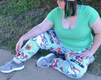 90s Critters Pajama Pants! Stretchy & Comfy Jogger Style Pants with Drawstring and Pockets - Plus Size Pajama Pants