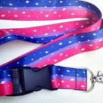 Bi Pride Lanyard ID Badge Holder - Lobster Clasp and Clip - LGBTQ Pride - Gay Pride - Bisexual Pride