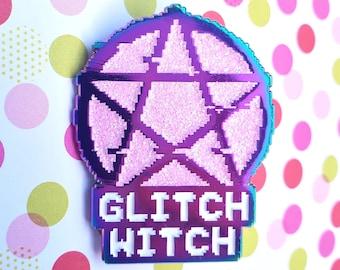 Glitch Witch - Rainbow Metal Glitter Enamel Pin, Rainbow Metal Enamel Pin