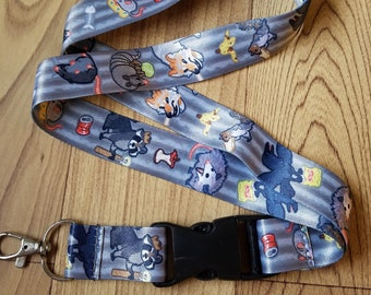Trash Animals Lanyard ID Badge Holder - Lobster Clasp and Clip