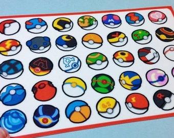 Pokeball Sticker Sheet