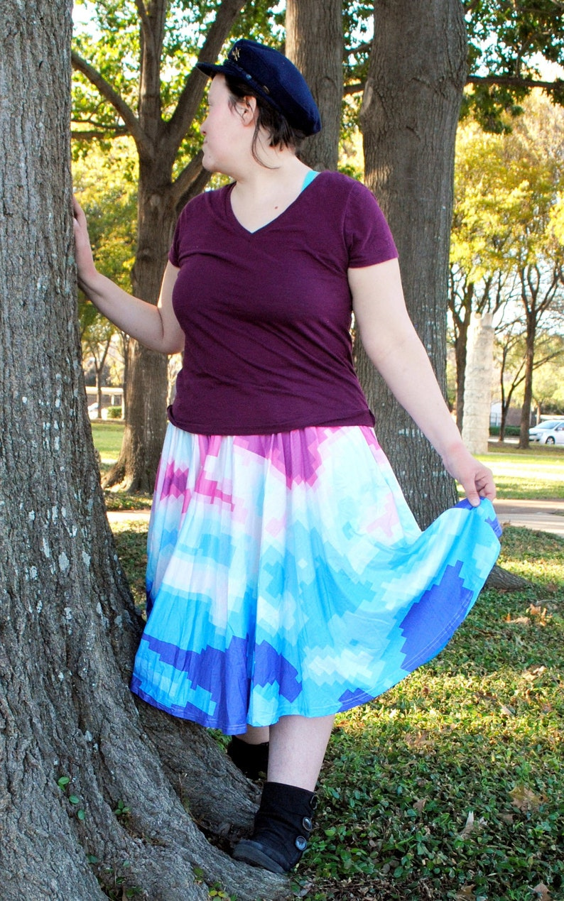 Pixel Radar Midi Skirt with POCKETS  One Size and Plus Size image 0