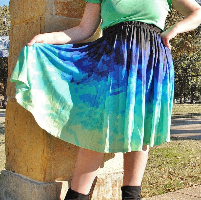 Pixel Tides Midi Skirt with POCKETS  One Size and Plus Size image 0