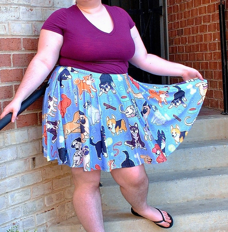 Puppy Dogs Skater Skirt with POCKETS  One Size and Plus Size image 0