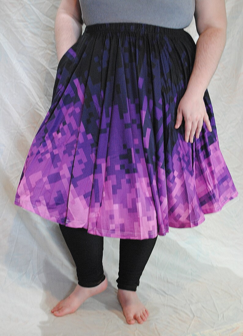 Pixel Gothic Midi Skirt with POCKETS  One Size and Plus Size image 0