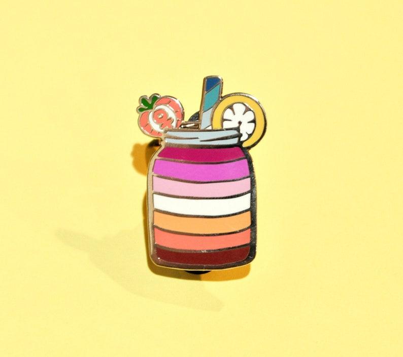 Lesbian Lemonade  Pastry Pride Enamel Pins  Lesbian Pride image 0