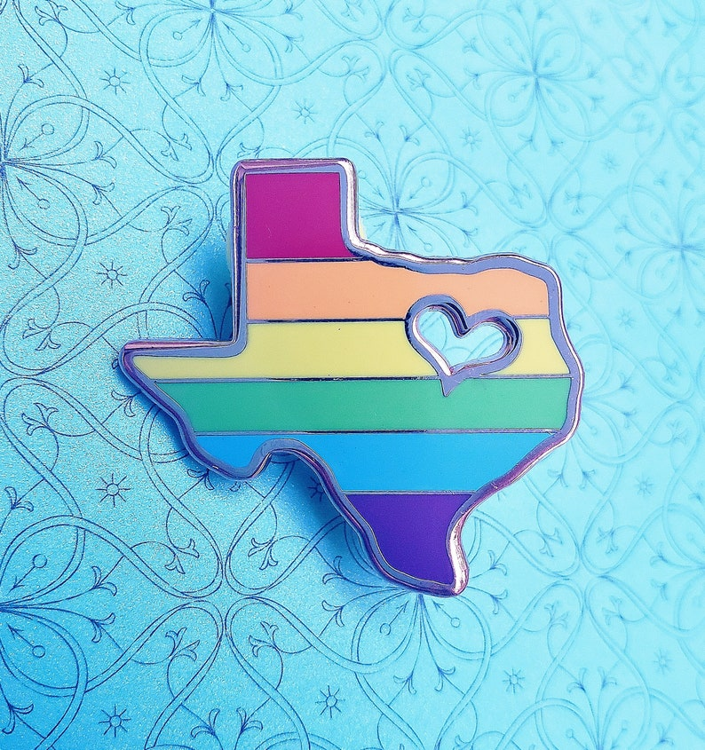 Texas Pride Rainbow Enamel Pin  Gay Texas Pride Pin  LGBTQ image 0