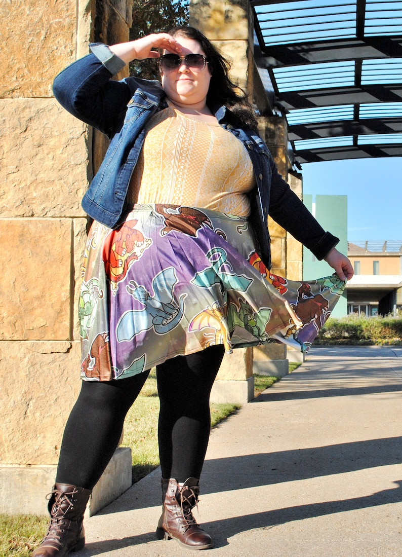 Dragons Skater Skirt with POCKETS  Circle Skirt  One Size image 0