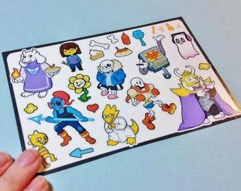 Undertale Inspired Sticker Sheet