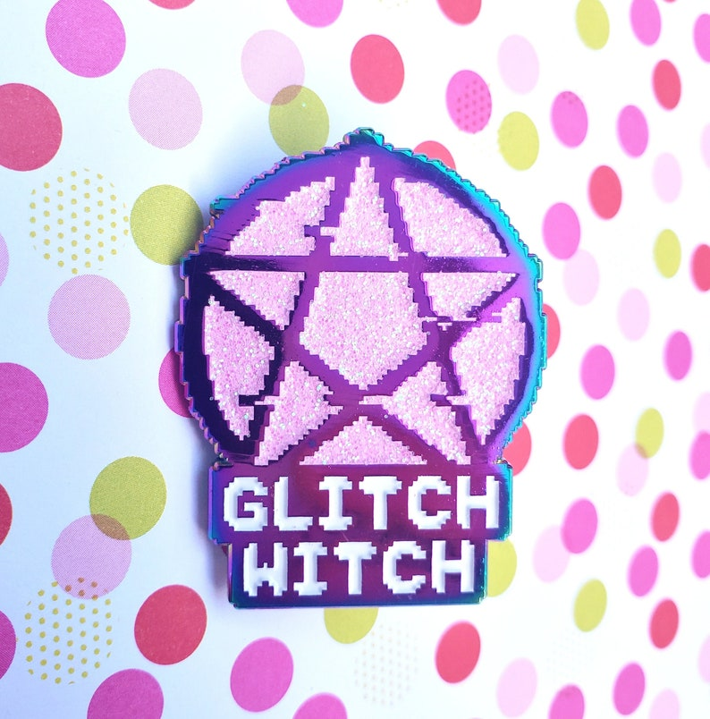 Glitch Witch  Rainbow Metal Glitter Enamel Pin Rainbow Metal image 0