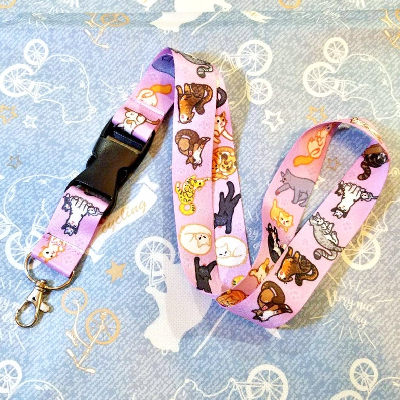 Kitty Cats Lanyard ID Badge Holder  Lobster Clasp and Clip image 0