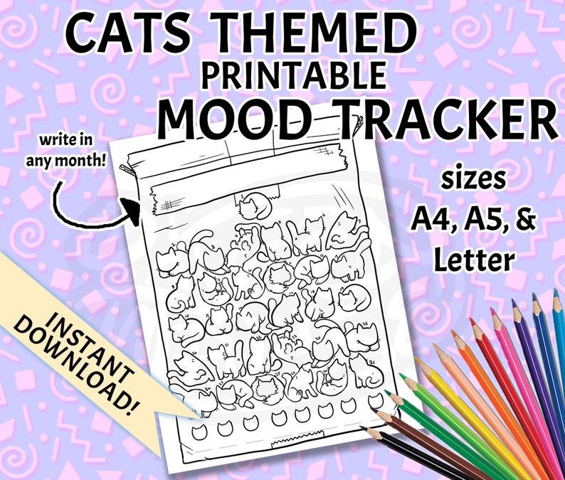 Cats Mood Tracker Printable Bullet Journal Template  Bujo image 0