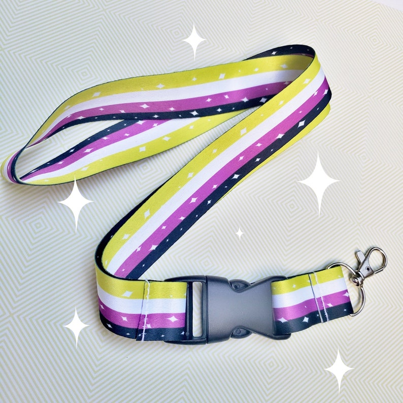 Non-binary Pride Lanyard ID Badge Holder  Lobster Clasp and image 0