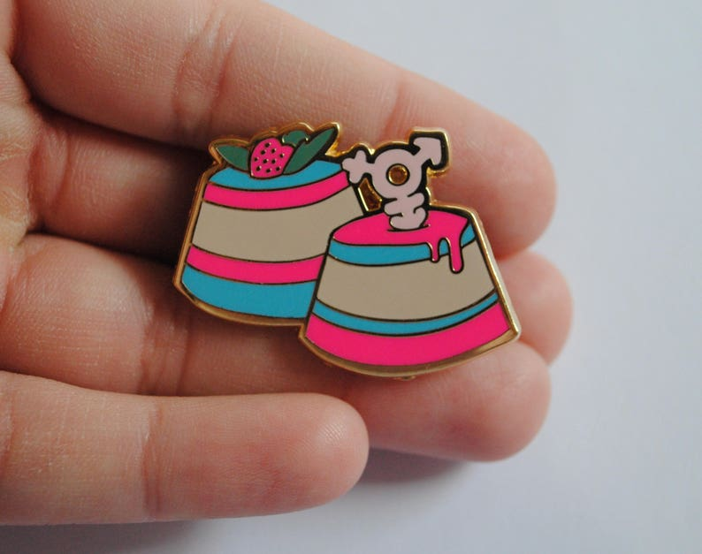 Trans Flans  Pastry Pride Enamel Pins  Transgender Pride Pin image 0