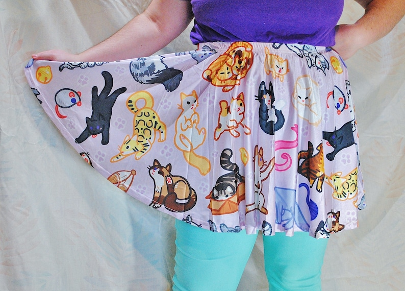 Kitty Cat Pattern Skater Skirt  WITH POCKETS  One Size and image 0