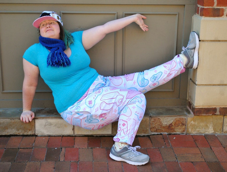 Pastel Controller Pajama Pants Stretchy & Comfy Jogger Style image 0