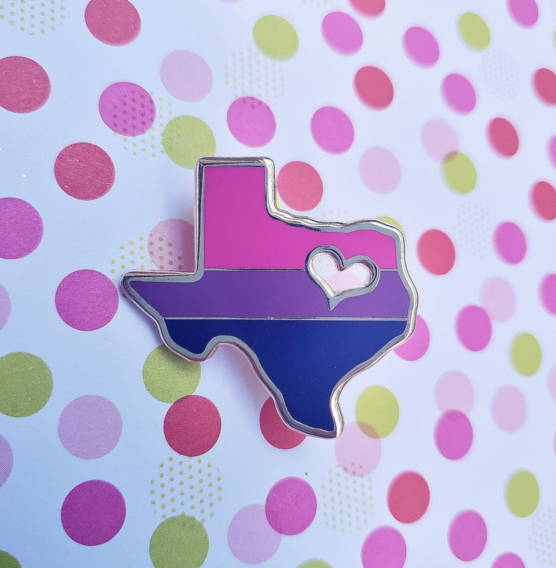 Texas Pride Enamel Pin  Bi Texas Pride Pin  LGBTQ Pride image 0