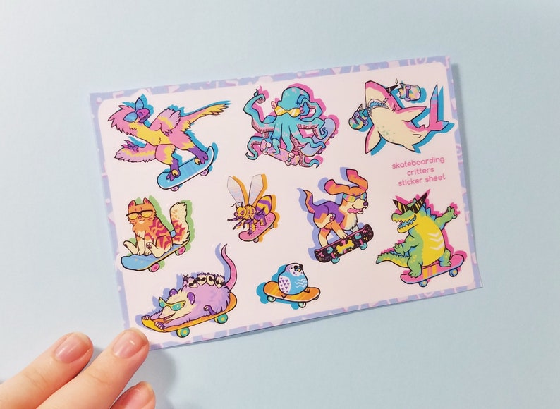 Skateboarding Animals Sticker Sheet  90s Critters 80s image 0