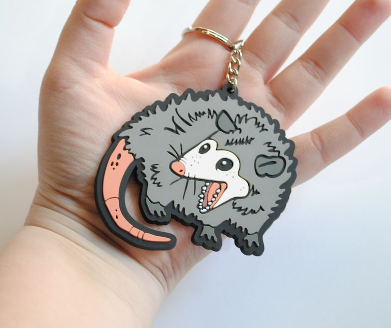 Screaming Opossum PVC Keychain  He Scream At Own Ass  Meme image 0