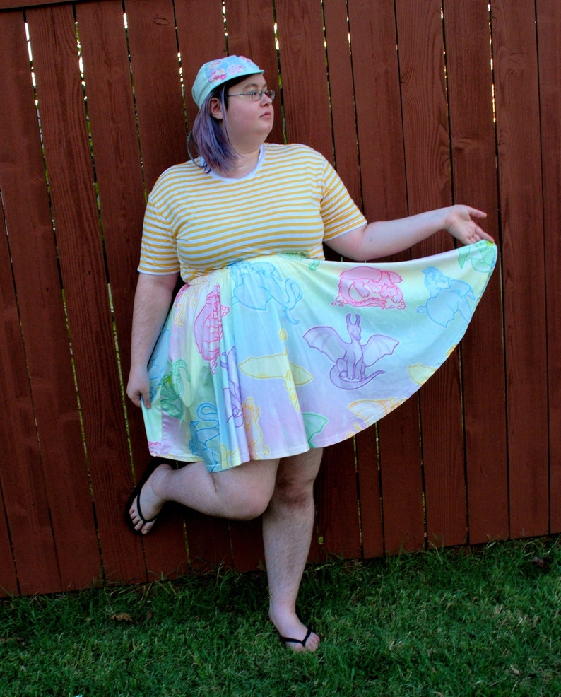 Pastel Dragons Skater Skirt with POCKETS  One Size and Plus image 0