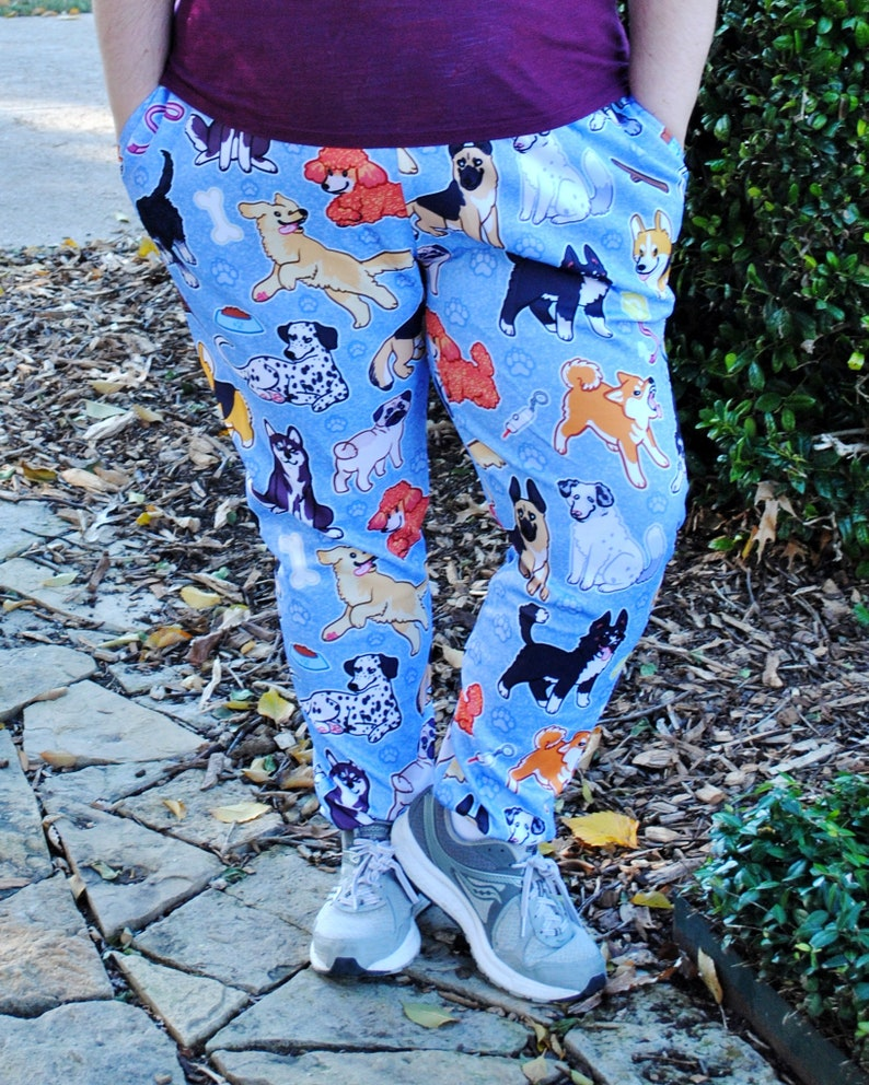 Puppy Dog Pajama Pants Stretchy & Comfy Jogger Style Pants image 0