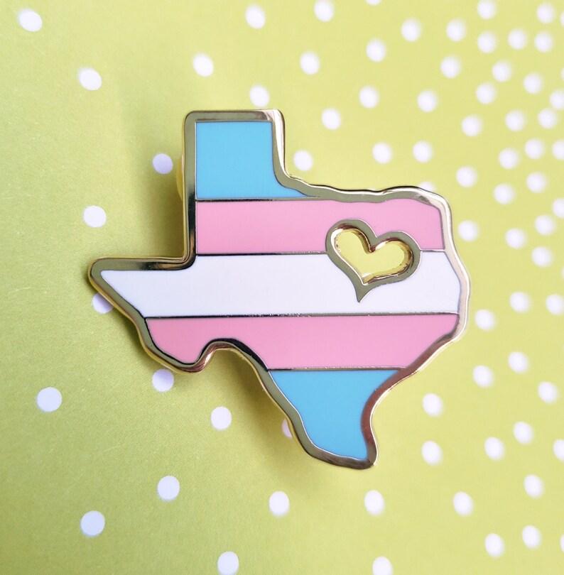 Trans Texas Pride Enamel Pin  Gay Texas Pride Pin  LGBTQ Pin image 0