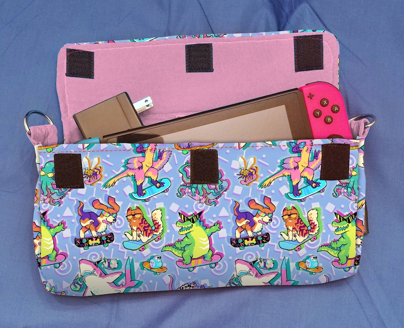 90s Skateboarding Critters Pattern Nintendo Switch Carrying image 0
