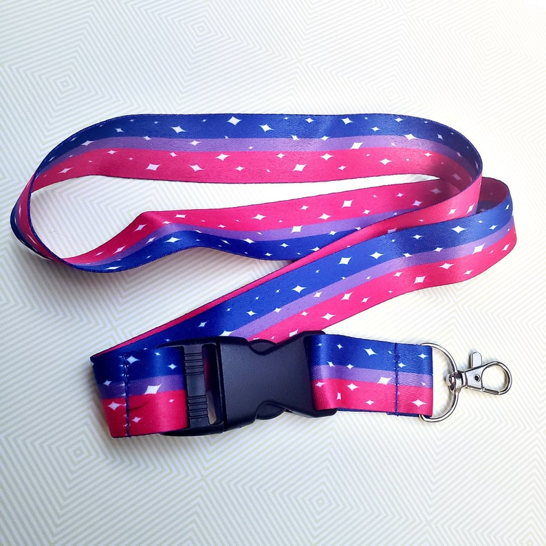 Bi Pride Lanyard ID Badge Holder  Lobster Clasp and Clip  image 0