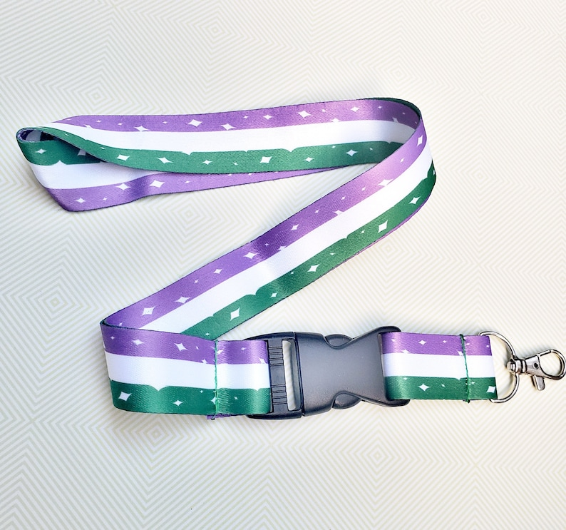 Genderqueer Pride Lanyard ID Badge Holder  Lobster Clasp and image 0