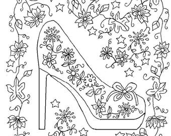 Adult Designs Coloring Page Pattern Stress Relieving Beautiful And Detailed High Heel Flower Shoe
