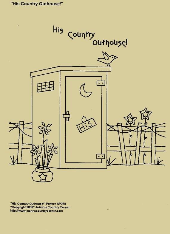 """/"""" Primitive Stitchery Pattern /""""Country Bath Outhouse"""