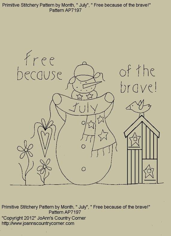 Muñeco de nieve de-patrón de Stitchery primitivo por mes | Etsy