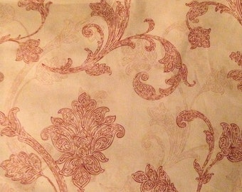 "Waverly Inspirations fabric Jaco Scroll light red screen print 1 yard x 54"" wide 100% cotton"