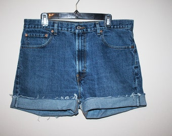 ddc8b9a2 Vintage 1990s Levi Strauss High Waist Denim Shorts, Size XXL
