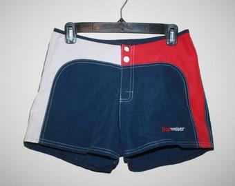 3b4d350ab3b1b Vintage 1990s High-Mid Waist Budweiser Surf Shorts, Size Medium