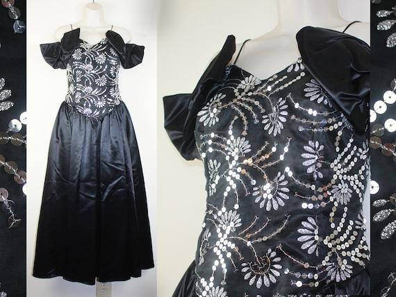 Vintage ** 80/'s 90/'s ** Black ** Lace ** Silver Lurex ** Cocktail ** Party ** Dress  ** Size AUSL