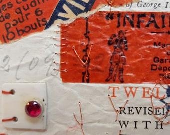 ART COLLAGE CARD red memorabilia