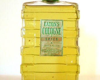 Antique 1930s Eaton's Spice Cologne 8 oz Splash Vintage Art Deco Bottle PERFUME