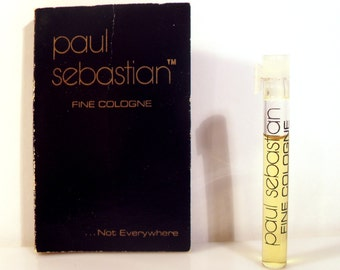 Vintage 1980s Paul Sebastian Fine Cologne Sample Vial on Card PERFUME