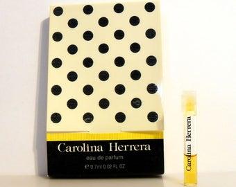 Vintage 1980s Carolina Herrera by Carolina Herrera  0.02 oz Eau de Parfum Sample Vial on Card PERFUME