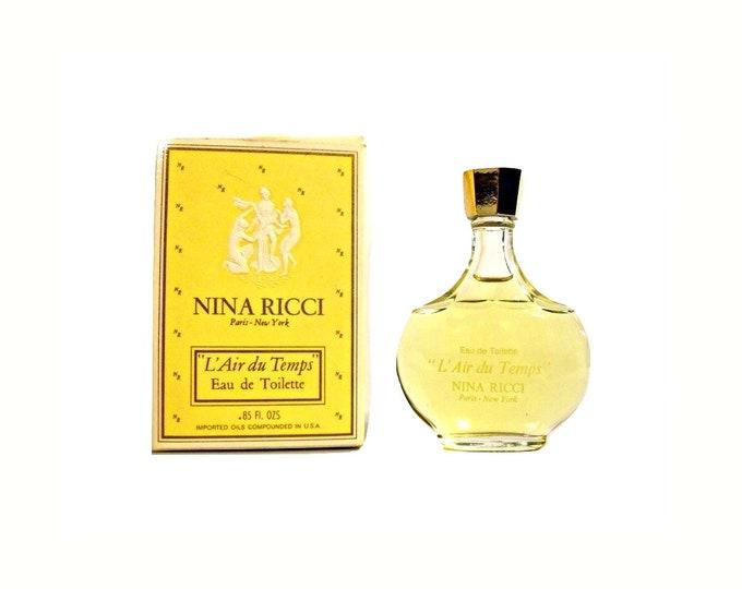 Vintage L'Air du Temps by Nina Ricci Perfume 0.85 oz (25ml) Eau de Toilette Splash 1970s Lalique Bottle