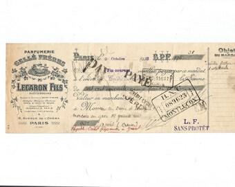 Antique 1926 Gelle Freres Parfums Perfume Merchandise Receipt Ancien Acquit Parfumerie Ephemera #2